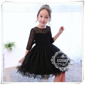 子供ドレス安フォーマルピアノ発表会結婚式演奏会キッズワンピースキッズ花柄ブラック