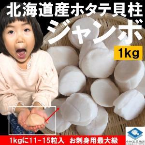 ホタテ貝柱 化粧箱入 北海道産 お刺身用 1kg J ジャンボサイズ 11-15粒入 送料無料 ギフト お取り寄せ|masaoshoten