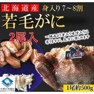 【若蟹】 毛がに 毛ガニ 北海道産 浜茹で毛がに 1尾約500g2尾入 若蟹 身入り7-8割 まずはお試し 条件付き送料無料|masaoshoten