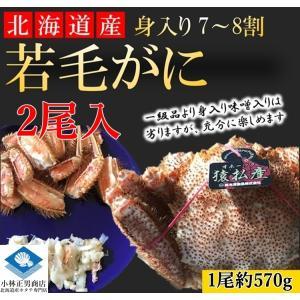 【若蟹】毛がに 毛ガニ 北海道産 浜茹で毛がに 1尾約570g 2尾入 若蟹 身入り7-8割 まずはお試し 送料無料|masaoshoten