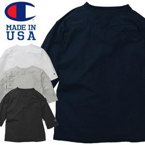 Champion チャンピオンT1011 3/4スリーブ 無地 フットボール Tシャツ七分袖 アメカジ Made in USA|mash-webshop