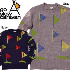 go slow caravan ゴースローキャラバン 総柄JQニットクルー セーター ゴルフ柄 グレー ネイビー|mash-webshop