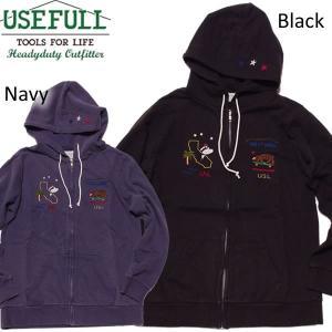 USEFULL ユースフル Cal Zip Up Hoodie ジップアップパーカ 刺繍|mash-webshop