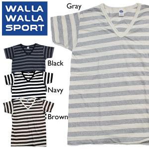 WALLA WALLA SPORT ワラワラスポーツ Tシャツ Vネック ボーダー|mash-webshop