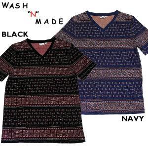 WASH'N'MADE ウォッシュンメイド BANDANA JACQUARD V-NECK バンダナ ジャガード VネックTシャツ|mash-webshop