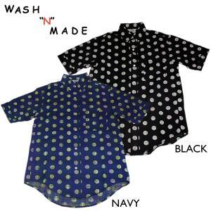 WASH'N'MADE ウォッシュンメイド BATIK DOT S/S B.D. チェック ドット半袖ボタンダウンシャツ|mash-webshop