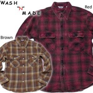 WASH'N'MADE ウォッシュンメイド HEAVY NEL SHIRT BLAECH ヘビーネルシャツ ビンテージ ヴィンテージ|mash-webshop