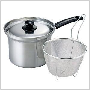 ゼロプラス ふきこぼれにくい ザル付深型片手鍋 18cm IH 対応 鍋 ナベ 料理 調理 片手鍋 麺類 パスタ 茹でる ZP-005|masuda-shop