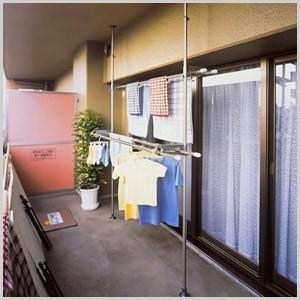 物干し ステンレス ベランダ用ものほし台 スダンドポール 洗濯 積水樹脂  洗濯干し つっぱり式 つっぱり 洗濯物干し DSL-20|masuda-shop