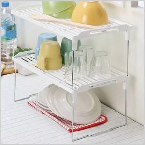 積み重ね整理棚 1個 キッチン収納 食器 調味料 ラック  整理整頓 キッチン|masuda-shop