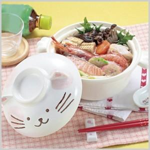 ねこちゃんのひとり鍋 1人用 一人用 なべ 鍋 ナベ 土鍋 耐熱 ごはん ご飯 雑炊 うどん|masuda-shop