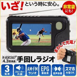ラジオ ワンセグ 手回し 3電源 テレビ AM FM USB 4.3インチ 充電 手廻し充電 乾電池...