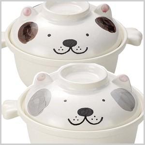 ワンちゃんのひとり鍋 茶 グレー 1人用 一人用 なべ 鍋 ナベ 土鍋 耐熱 ごはん ご飯 雑炊 うどん|masuda-shop