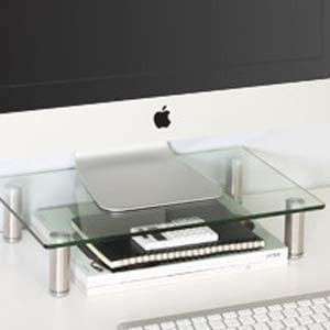 FITUEYES 机上台 モニター台 モニターライザー キーボード収納 幅385mm 内径300mm 高さ調整可能 透明 ガラス製 DT10|masukosyouten