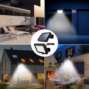 56 LED超高輝度ソーラーライトwithモーションディテクター(5Mケーブル)屋外照明 防犯 防水 自動点灯 太陽光発電 屋外/駐車場/玄|masukosyouten