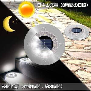 Aixoxo ソーラーライト 8 LED 高輝度 屋外照明 ガーデンライト 1個入り 埋め込み式 光センサー ライト 自動点灯 消灯 太陽光|masukosyouten