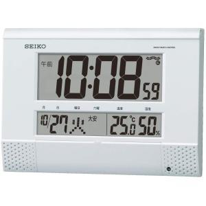 セイコークロック 白パール 本体サイズ18.6×26.4×3.9cm 掛け時計 置き時計 兼用 電波 デジタル プログラム機能 BC412W masukosyouten