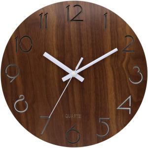 BECANOE 壁掛け時計 木製 サイレント 連続秒針 透かし彫り アナログ クロック 掛け時計 インテリア ブラウン ウオールクロック masukosyouten