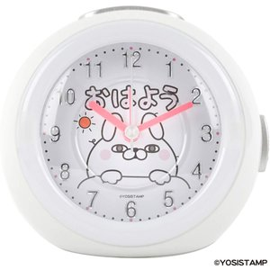 ヨッシースタンプ 目覚まし時計 うさぎさん アナログ メロディ アラーム ホワイト YO-02 masukosyouten