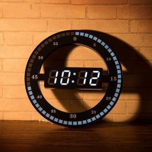 Cozyswan リング型デジタル時計 静音 光センサー ウォームホワイト おしゃれ 置き時計 壁掛け可能 LEDスクリーン クロック スタンド付き masukosyouten