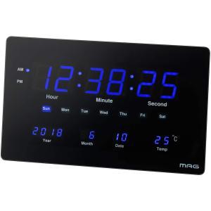 MAG(マグ) 掛け時計 非電波 デジタル デジブルー 温度 カレンダー表示 置き掛け兼用 ブラック W-724BK masukosyouten