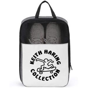 靴袋 キース ヘリング シューズケース コレクションケース 旅行靴収納 シューズバッグ シューズ袋 トラベル 履き替え 半透明 防塵 靴入れ 小物入れ|masukosyouten