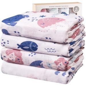 Viviland 赤ちゃん おくるみ ベビーバスタオル ベビー毛布 綿100% 保温 柔らかく 敏感肌適合 ベビー布団 授乳ケープ プレイマット 4枚|masukosyouten