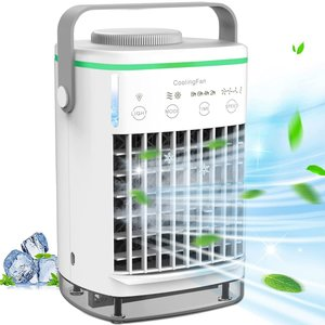 【2021年最新改良版】TWONE 冷風機 冷風扇 小型 卓上扇風機 風量4段階調節 USB給電 2H/4H/6H/8Hタイマー 700ml水タンク|masukosyouten