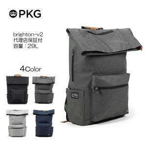 代理店保証付 PKG ピーケージー BRIGHTON brighton-v2 サイズ:45.7cmx30.5cmx16.5cm/容量:25L ※本体ブラック持ち手等革付属部分は、茶色です※|masuya-bag