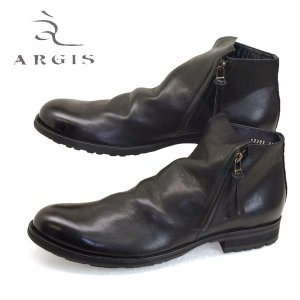 アルジス ARGIS チャッカブーツ 62206 黒 ダブルファスナー タンクソール 本革 日本製 メンズ|masuya92