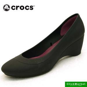 クロックス crocs lina wedge w 203408-001 黒 リナ ウェッジ 防水 パンプス レディース|masuya92