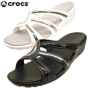 クロックス crocs Sanrah Metal-Block Strappy Wedge 205580 0FN 6PG サンラ メタル ブロック ストラップ ウェッジ サンダル レディース|masuya92