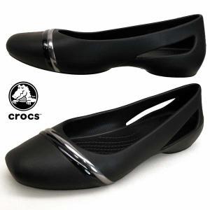 クロックス crocs Sloane MetalBlock Flat スローン メタル ブロック フラット 205994-988 黒 パンプス フラットシューズ レディース|masuya92