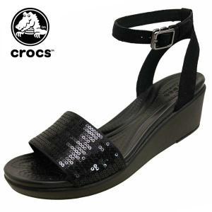クロックス crocs LeighAnn Ankle-Strap Sequin Wedge レイ アン アンクル シークイン ウェッジ 206024-060 黒 スパンコール サンダル レディース|masuya92
