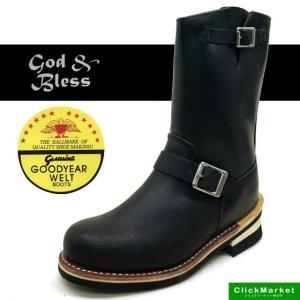 ゴッドアンドブレス God&Bless 9810 エンジニアブーツ 本革 合皮 黒 レディース/メンズ|masuya92