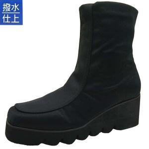 [30%OFF] らくちん Rakuchin ショートブーツ 厚底 波型ソール 黒 撥水加工 5100 レディース masuya92