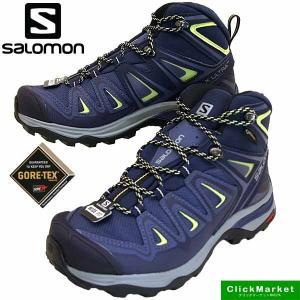 サロモン SALOMON X ULTRA 3 WIDE MID GTX W 401296 ウルトラ 3 ワイド ミッド ゴアテックス 紺 ハイキング 登山靴 防水 レディース