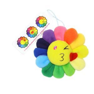 村上隆 カイカイキキ お花 Flower Emoji Keychain A お花ぬいぐるみ フラワー レインボー 絵文字 キーチェーン 裏表可愛らしい2種類の表情 masyou-store