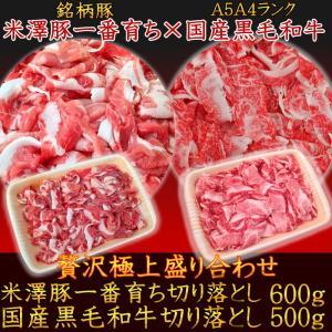 送料無料 A5A4国産黒毛和牛霜降切り落とし500g×米澤豚一番育ち切り落とし600g 贅沢極上盛り合わせセット 牛肉 豚肉 訳あり こま切れ|matador