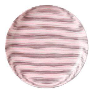 美濃の和食器 花伝細縞 赤 13cm丸皿 matakatsu