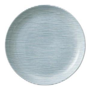美濃の和食器 花伝細縞 緑 19cm丸皿 matakatsu