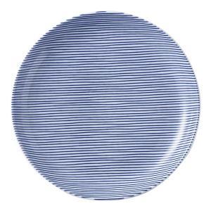 美濃の和食器 花伝細縞 青 19cm丸皿 matakatsu