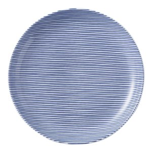 美濃の和食器 花伝細縞 青 13cm丸皿 matakatsu