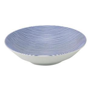 美濃の和食器 花伝細縞 青 13.5cm浅ボウル matakatsu