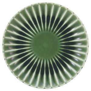 美濃の和食器 花伝かすみ 緑 12.5cm丸皿|matakatsu