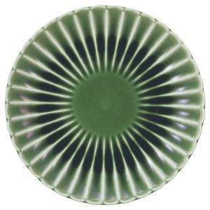 美濃の和食器 花伝かすみ 緑 14.5cm丸皿|matakatsu