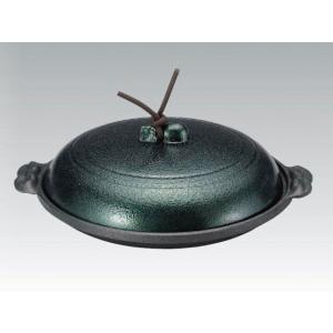 アルミ丸陶板 16cm 浅型 緑 [親・蓋] セット