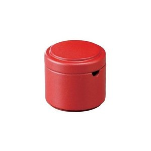 つつ型粉茶入れ 朱乾漆|matakatsu