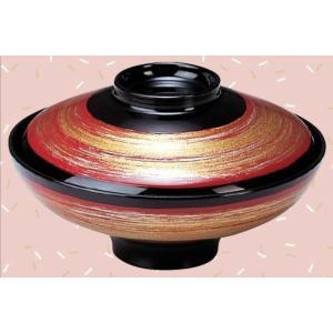 5寸富士型煮物椀 塗分け朱銀刷毛目|matakatsu