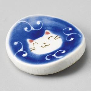陶雅 一珍唐草猫丸箸置 青|matakatsu
